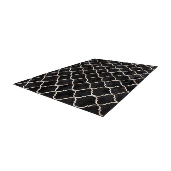 Kožený koberec Eclipse Black, 80x150 cm