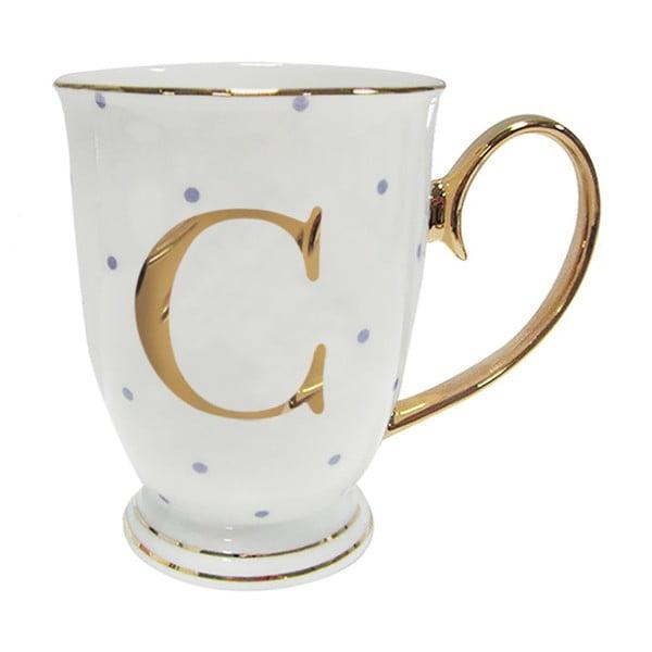 Cană-alfabet cu litera C, cu picățele mov