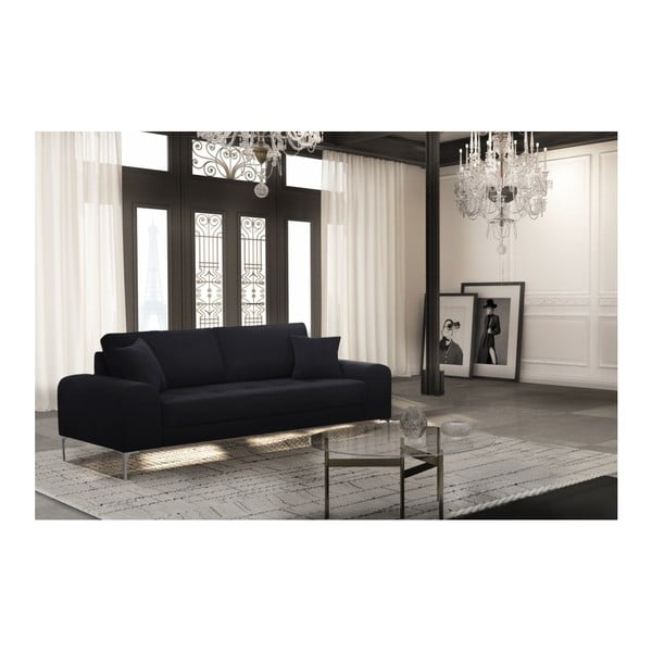 Set canapea neagră cu 3 locuri, 4 scaune gri, o saltea 160 x 200 cm Home Essentials