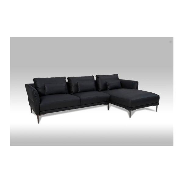 Canapea pe colț, din piele, Furnhouse Baron, pe partea dreaptă, negru
