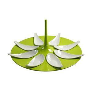 Zeleno-bílý servírovací set na jednohubky Entity