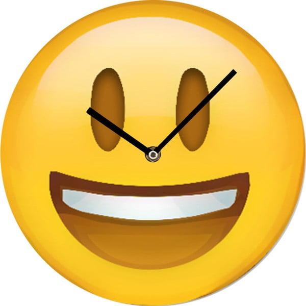 Skleněné hodiny Smajlík, 30 cm