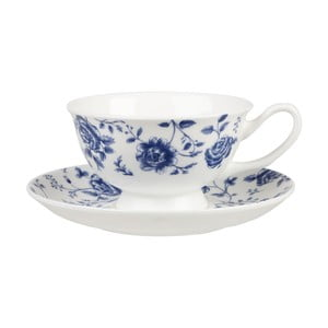 Hrnek s podšálkem Churchill China Blue Story Grace Rose, 200 ml