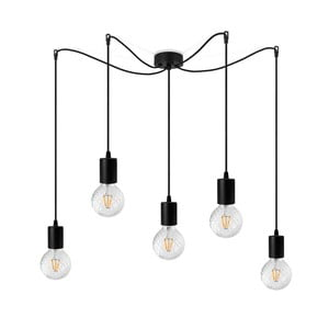 Černé závěsné svítidlo s 5 žárovkami Bulb Attack Cero Basic Globe Clear