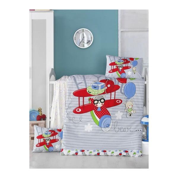 Lenjerie de pat din bumbac pentru copii Planes, 100 x 150 cm