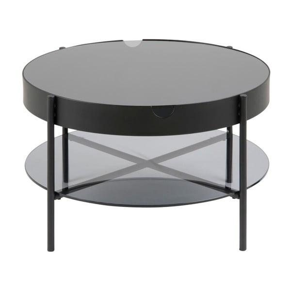 Černý odkládací stolek s úložným prostorem Actona Tipton, ⌀75 cm