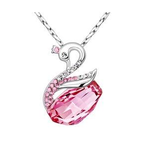 Náhrdelník s růžovými krystaly Swarovski Elements Crystals Swan