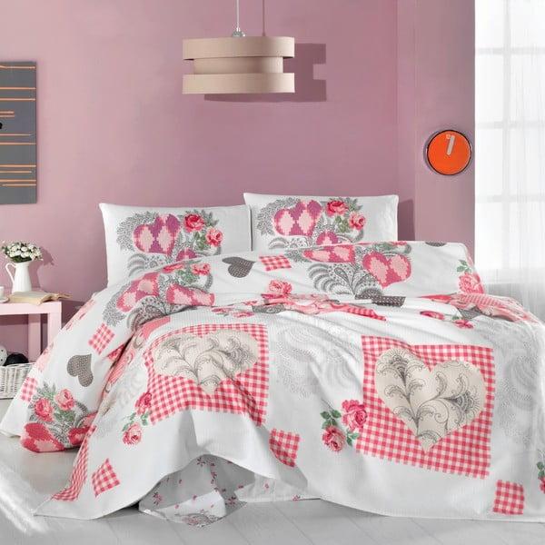 Set přehozu, prostěradla a povlaků na polštáře Pink Angel, 200x230 cm
