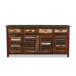 Čtyřdveřový příborník  z recyklovaného dřeva Woodking Colour