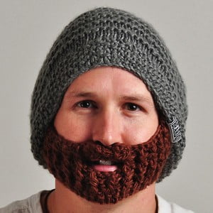 Čepice Beardo Original s odepínatelným plnovousem, šedá