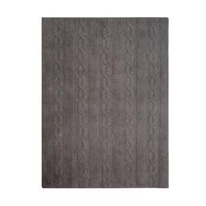 Šedý bavlněný ručně vyráběný koberec Lorena Canals Braids, 120x160cm
