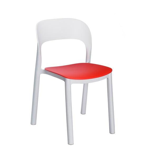 Set 4 scaune de grădină cu șezut roșu Resol Ona, alb
