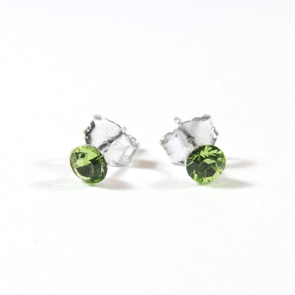 Stříbrné náušnice se zeleným krystalem Swarovski Musaventura Noa