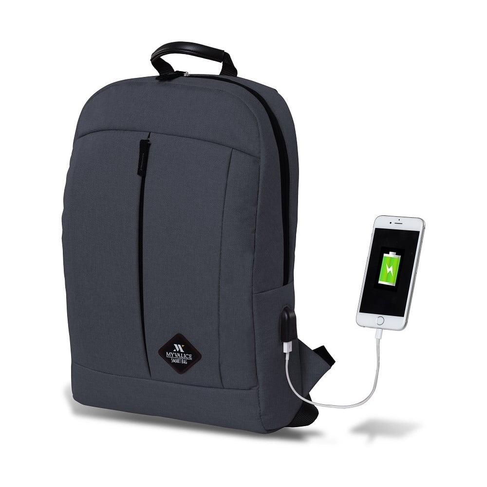 Antracitový batoh s USB portem My Valice GALAXY Smart Bag