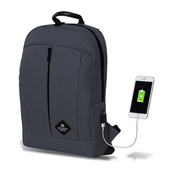 Antracitovosivý batoh s USB portom My Valice GALAXY Smart Bag