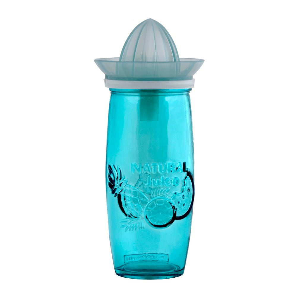 Modrá sklenice s odšťavňovačem z recyklovaného skla Ego Dekor Juice, 0,55 l