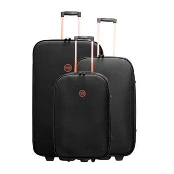 Set 3 valize cu roți Travel World Let´s Go, negru
