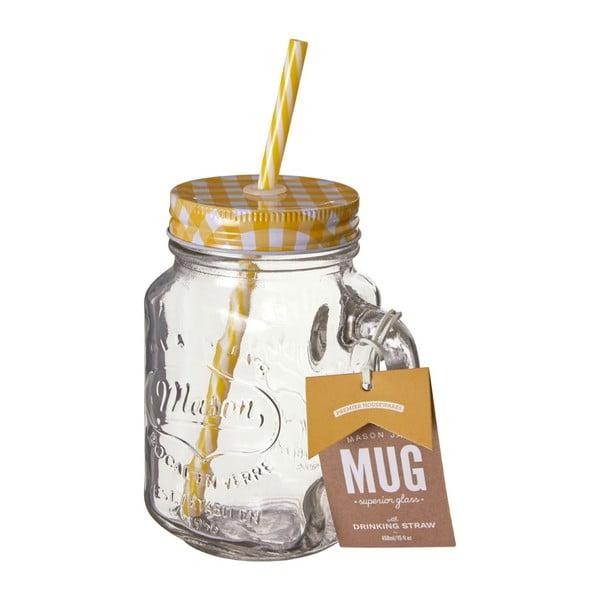 Szklanka z żółtym wieczkiem i słomką Premier Housewares,450ml