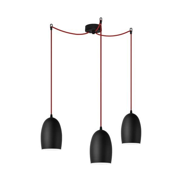 Trojité světlo UME Elementary, black matte/red/black