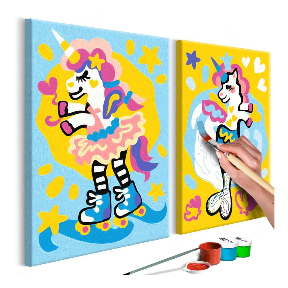 DIY set na tvorbu vlastního dvoudílného obrazu na plátně Artgeist Funny Unicorns, 33 x 23 cm