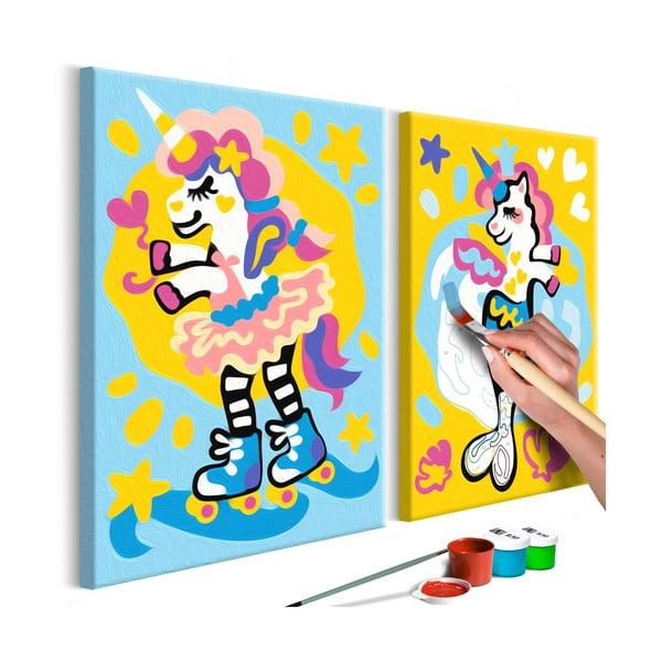 DIY set na tvorbu vlastného dvojdielneho obrazu na plátne Artgeist Funny Unicorns, 33×23 cm