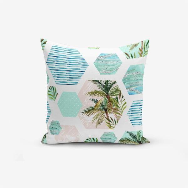 Față de pernă cu amestec din bumbac Minimalist Cushion Covers Geometric Palm, 45 x 45 cm