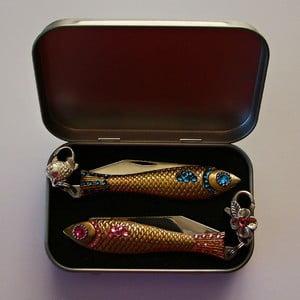 Dárkové balení 2 nožíků rybička Růžové a modré krystaly, v plechové krabičce