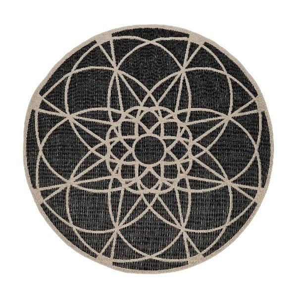 Černý venkovní koberec Floorita Tondo, ø 194 cm