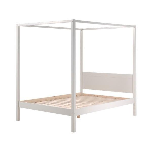 Biela detská posteľ Vipack Pino Canopy, 140×200 cm