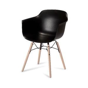 Černá jídelní židle s nohami z bukového dřeva Furnhouse Jupiter