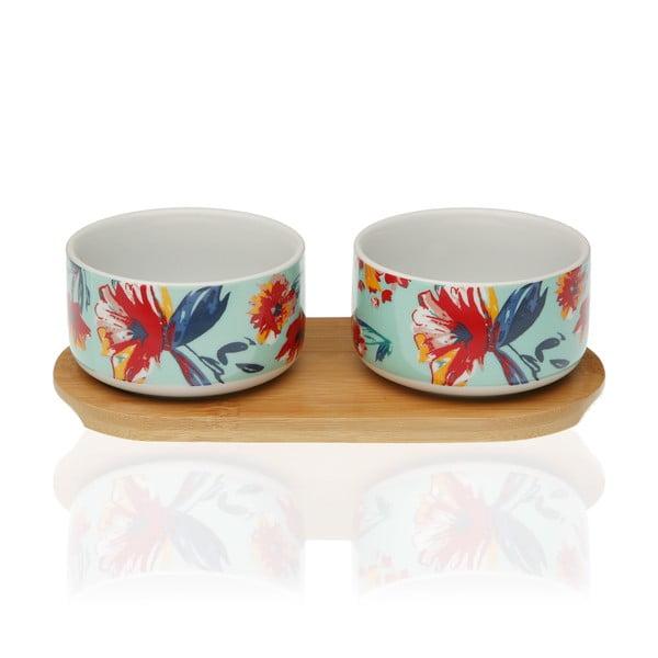 Sada 2 porcelánových mističek a bambusového podtácku Versa Paradis
