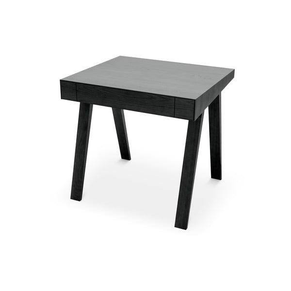 Fekete asztal kőrisfa lábakkal, 80x70cm - EMKO