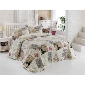 Sada prošívaného přehozu přes postel a dvou polštářů Galata Beige, 200x220 cm