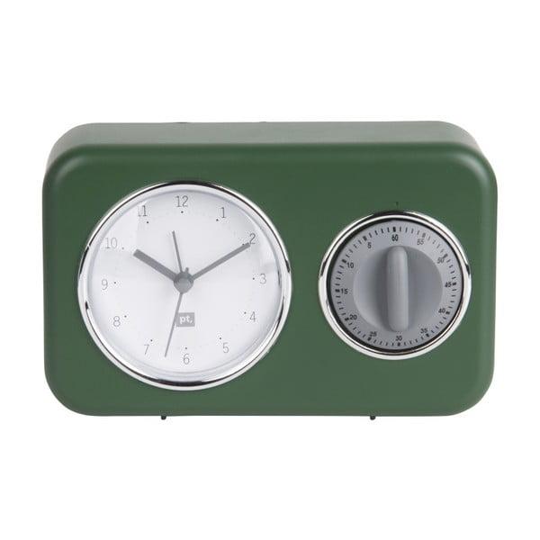 Zelené stolní hodiny s kuchyňskou minutkou PT LIVING Nostalgia