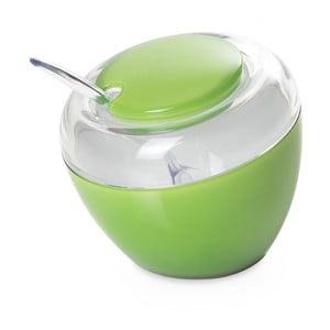 Zelená cukřenka se lžičkou
