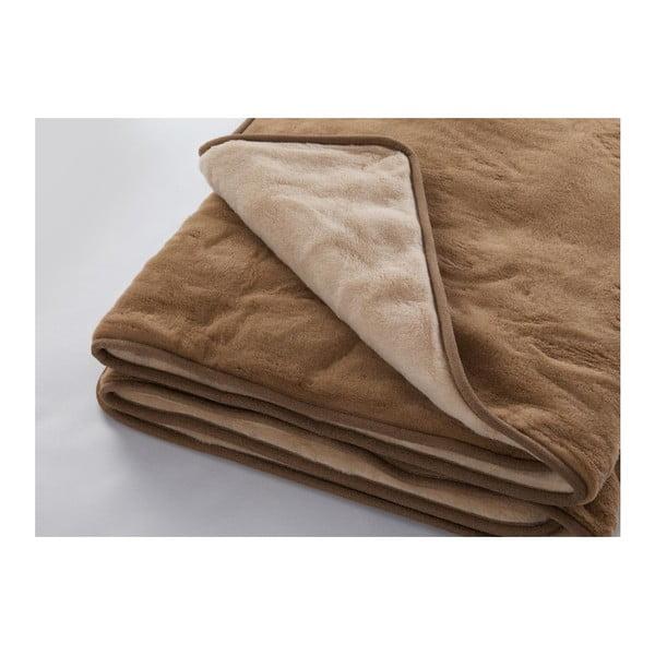 Hnědá deka z merino vlny Royal Dream,220x200cm