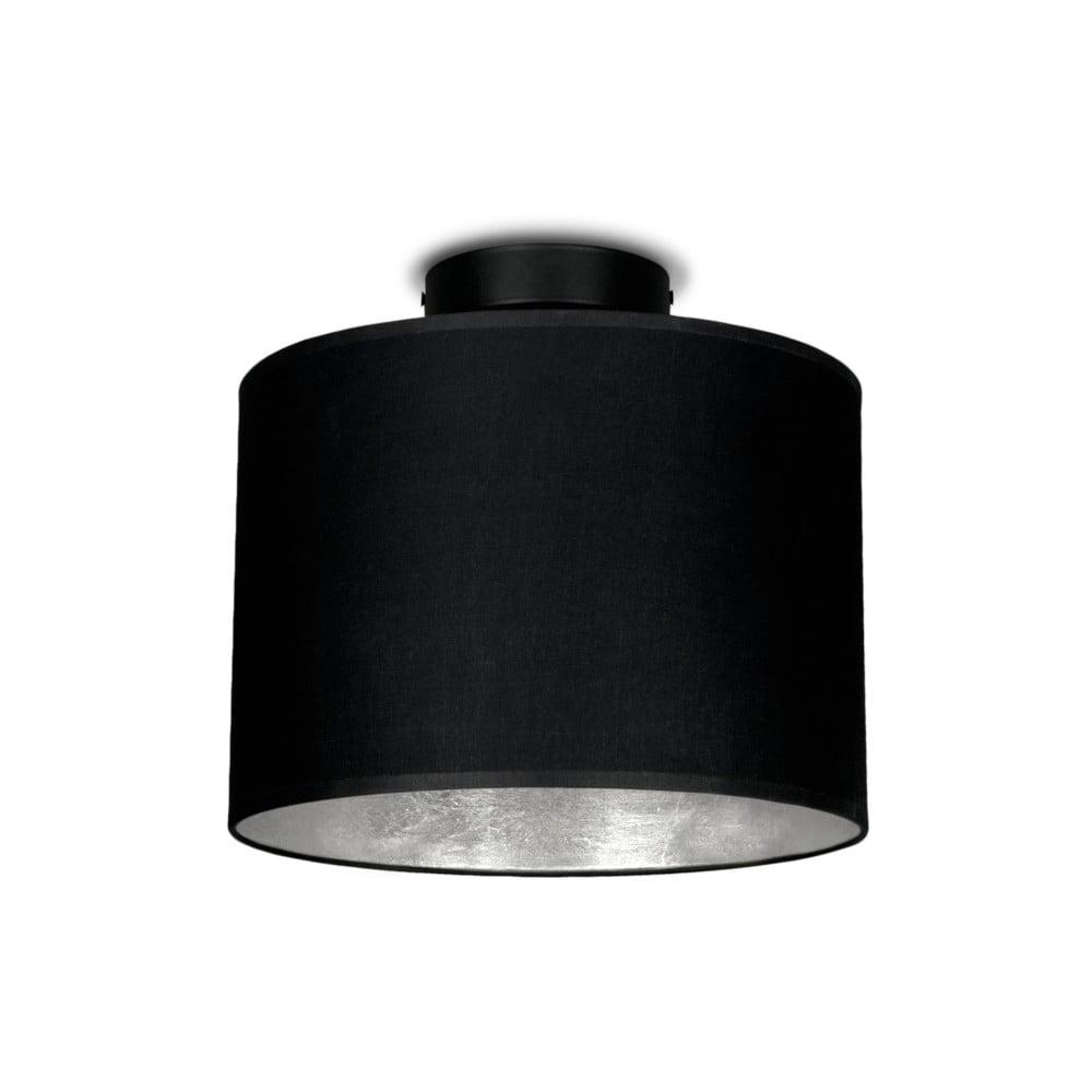 Černé stropní svítidlo s detailem ve stríbrné barvě Sotto Luce MIKA,Ø25cm