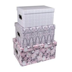 Set 3 cutii pentru depozitare cu mâner Tri-Coastal Design Vintage Love