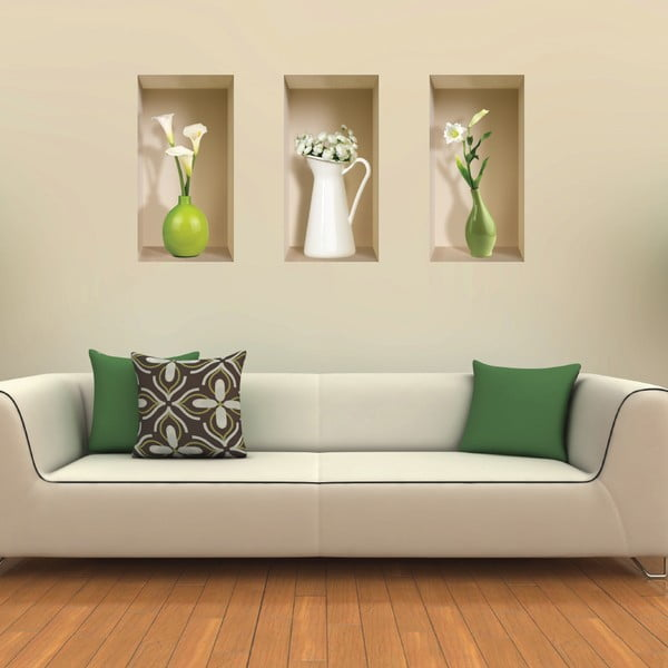Autocolant 3D pentru perete Nisha Vases Blanc