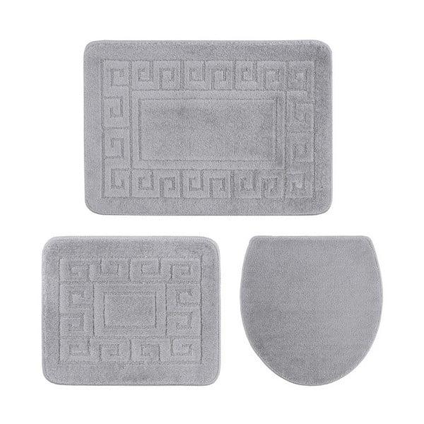 Sada 3 sivých kúpeľňových podložiek a poťahu na toaletu Confetti Ethnic, 40×50 cm