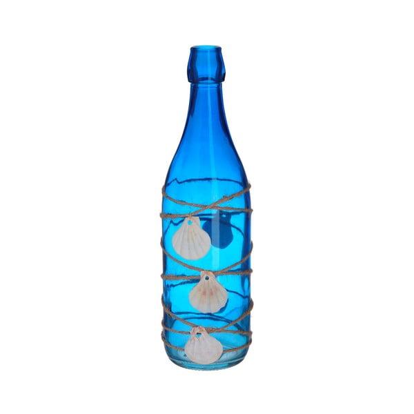 Niebieska szklana butelka dekoracyjna z muszelkami InArt Sea