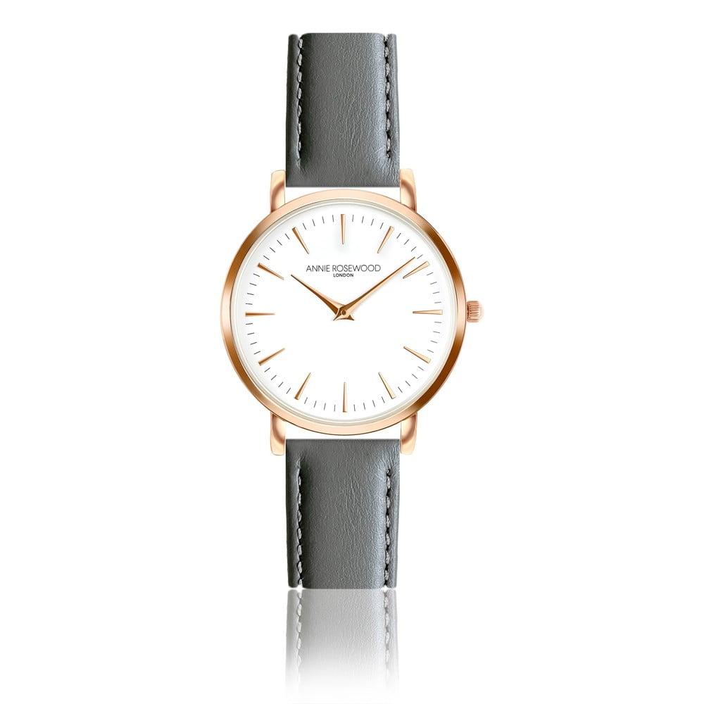 Dámské hodinky sšedým koženým řemínkem Annie Rosewood Bella