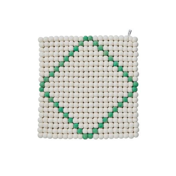Modulový koberec Wool Mat White/Mint, 40x40 cm