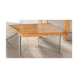 Skleněný konferenční stolek s deskou z jasanové dýhy Evergreen House Luis
