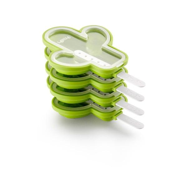 Zestaw 4 zielonych foremek silikonowych do lodów w kształcie kaktusa Lékué