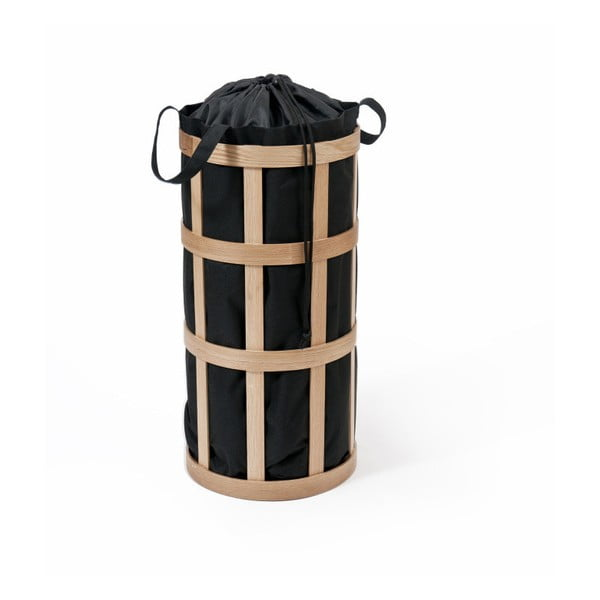 Cage világos fából készült szennyeskosár fekete vászonzsákkal - Wireworks