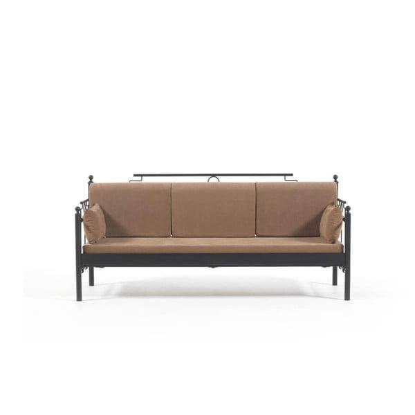 Canapea cu 3 locuri de grădină Halkus, 76 x 209 cm, maro-negru