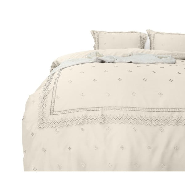 Lenjerie din micropercal Fancy Embroidery Rio, 140 x 220 cm, crem