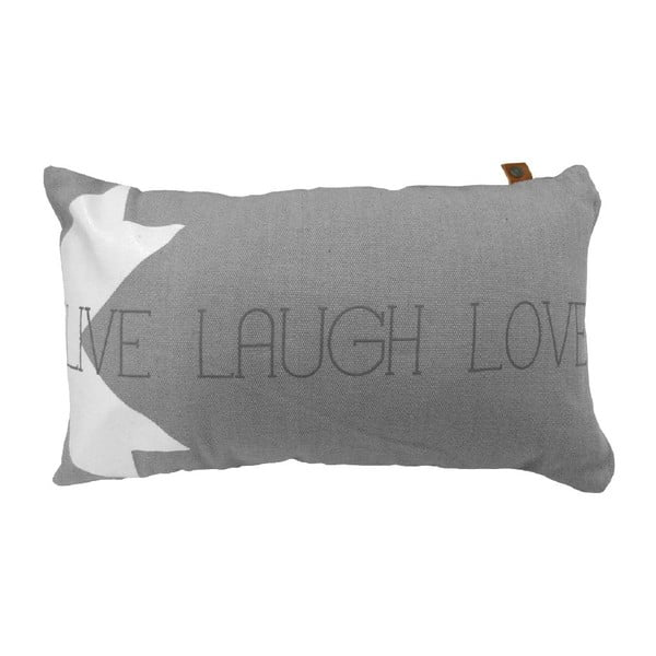 Šedý polštář OVERSEAS Live Laugh Love,30x50cm