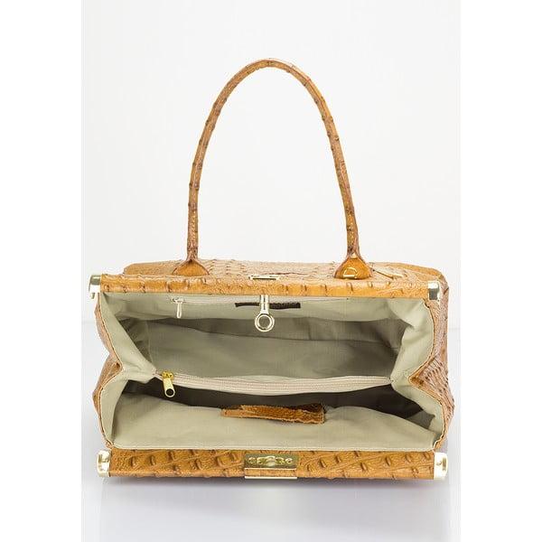Koňakově hnědá kožená kabelka Lisa Minardi Lantha